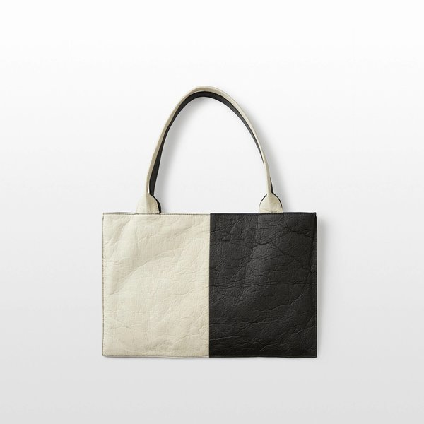 Hozen Vegan Tote Bag | Color Block | Charcoal + Natural