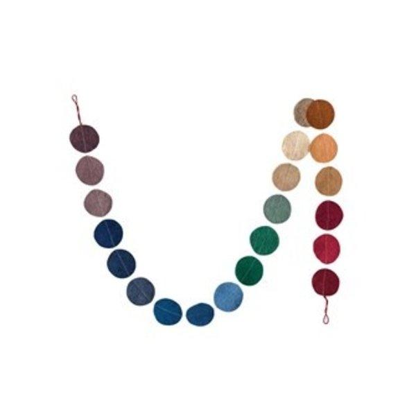 "Creative Co-Op Felt Garland | Multi Color Flat Circles | 72"""