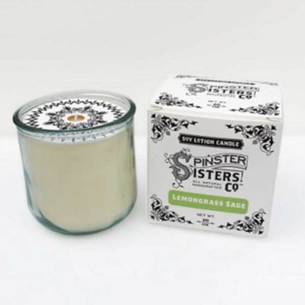 Spinster Sisters Candle | Soy Lotion | Lemongrass Sage