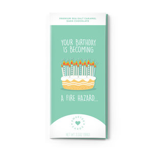 Sweeter Cards Chocolate Bar Card | Fire Hazard Birthday