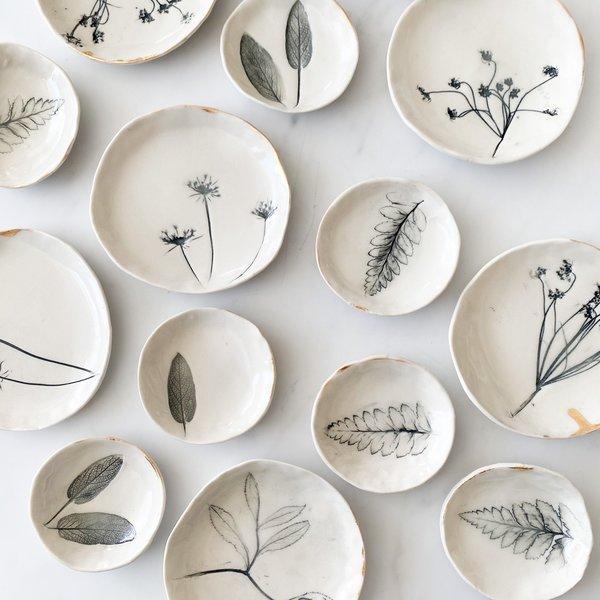 Dish | 22k Rim | Nature Imprint