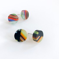 Earrings | Poly-Resin | Round Mosaic Small