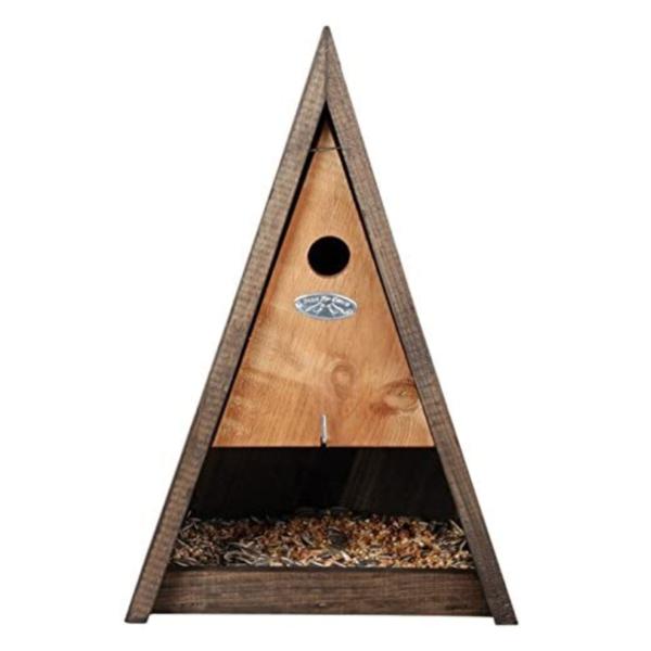 Esschert Design Birdhouse w/ Feeder | Wood Pyramid