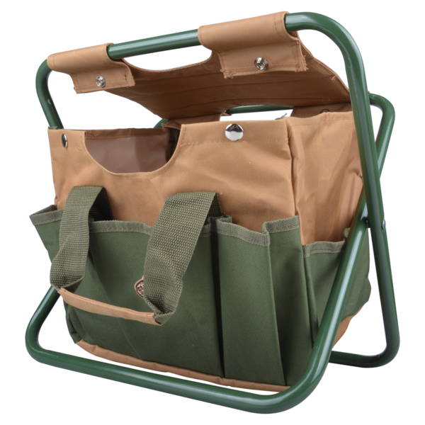 Esschert Design Canvas Tool Bag + Stool   Carry-All