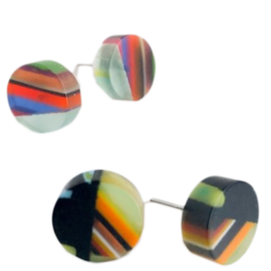 Belart Earrings | Poly-Resin | Round Mosaic Small