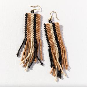 Earrings | Fringe Seed Bead | Natural Black Ivory Stripe
