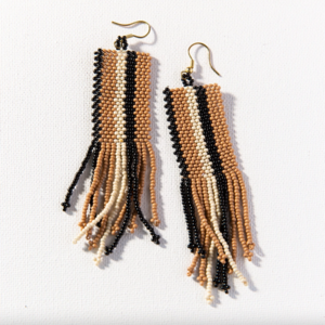 Ink + Alloy Earrings | Fringe Seed Bead | Natural Black Ivory Stripe