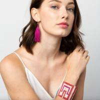 "Earrings | 3.25"" | Petite Fringe | Magenta Luxe"