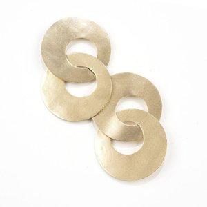 "Brass Earrings | 2.75"" Drop | Large Double Circle"