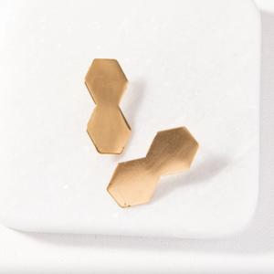 Brass Earrings | Small Double Hex Post