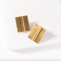 Brass Earrings | Small Bar in Square