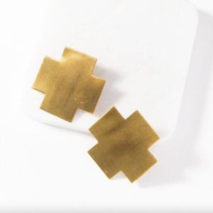 Brass Earrings | Large Solid Cross