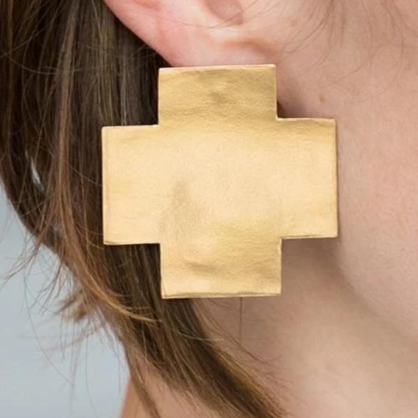Brass Earrings   Large Solid Cross