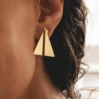 Brass Earrings |  Small Bar in Triangle