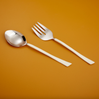 Be Home Serving Set   Stainless Steel   White Dipped Enamel