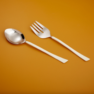 Be Home Serving Set | Stainless Steel | White Dipped Enamel