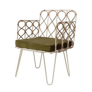 Creative Co-Op Chair | Metal & Cane + Velvet Cushion