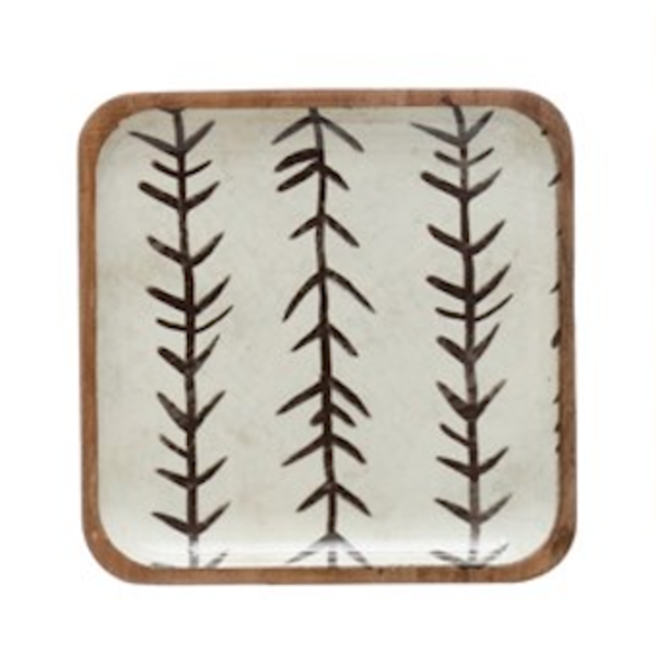 Creative Co-Op Square Tray   Enameled Acacia   Warm Floral