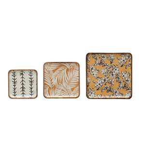 Creative Co-Op Square Tray | Enameled Acacia | Warm Floral