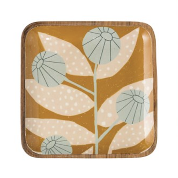 Creative Co-Op Square Tray | Enameled Acacia | Abstract Floral