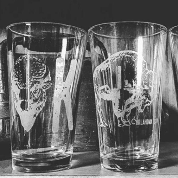 Ink & Etch Pint Glass |  OKC Skyline Buffalo