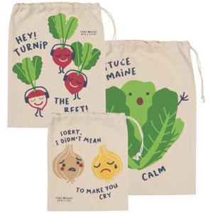 Now Designs Produce Bag | Set/3 | Funny Food