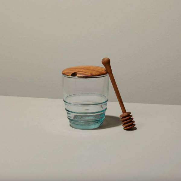 Be Home Honey Jar | Recycled Glass | Teak Lid & Spoon