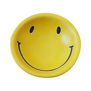 Venture Imports Dish   Smiley Face Yellow