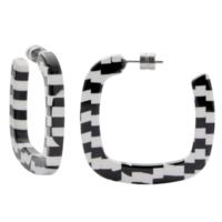 MACHETE Earrings   Midi Square Hoops   Bizarre Checker
