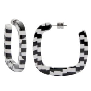 MACHETE Earrings | Midi Square Hoops | Bizarre Checker