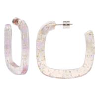 MACHETE Earrings | Midi Square Hoops | Glitter