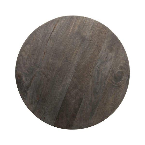 "Creative Co-Op Table | Black Round Mango Wood + Metal Base | 23.5"""
