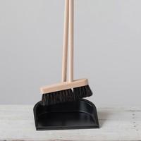 """Creative Co-Op Broom + Dustpan   Beech Wood   38.5"""""""