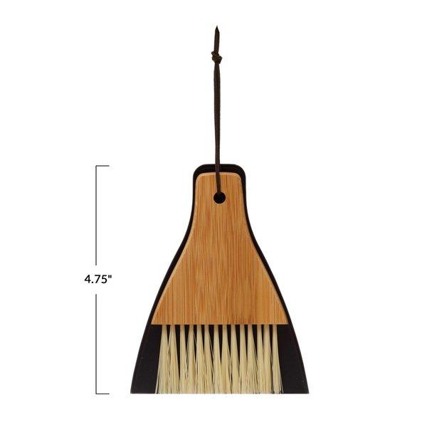 Creative Co-Op Brush + Dustpan | Bamboo & Metal