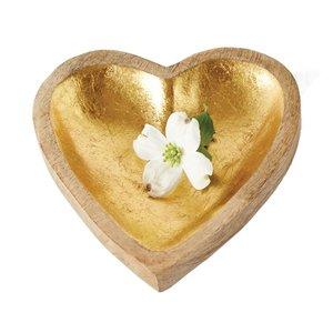 Creative Co-Op Bowl   Gold Leaf Heart