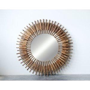 """Creative Co-Op Mirror   Found Wood Roti Pins   48"""" Dia"""