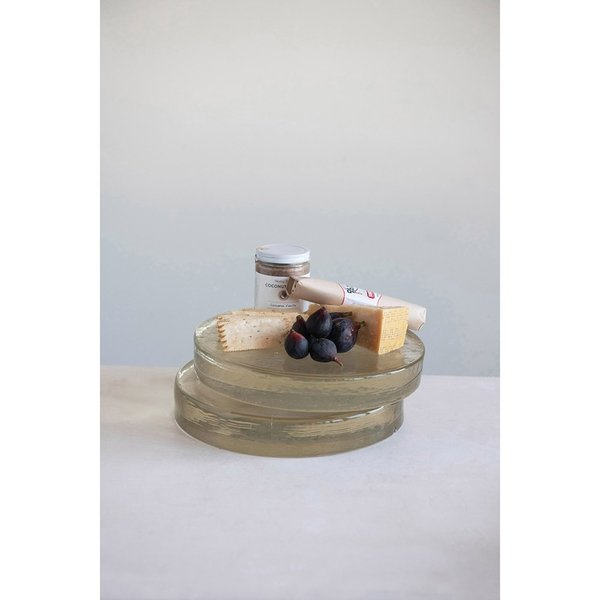 Creative Co-Op Tray | Round Handmade Glass | Clear