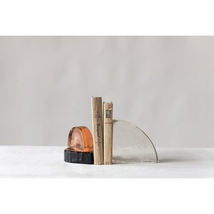 Creative Co-Op Bookend | Handmade Glass | Amber