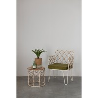 Creative Co-Op Stool | Metal & Cane | Round