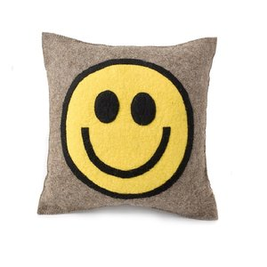 Arcadia Home Pillow | Hand Felted Wool | Happy/Sad Face