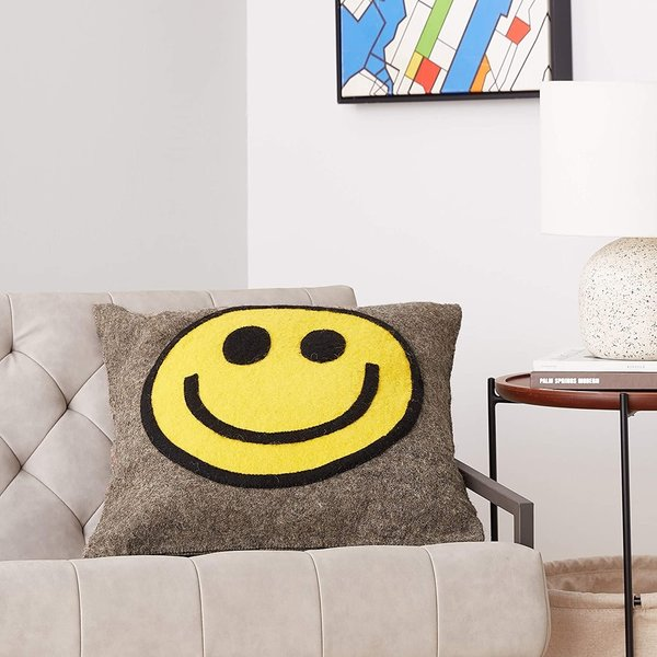 Arcadia Home Pillow   Hand Felted Wool   Happy/Sad Face