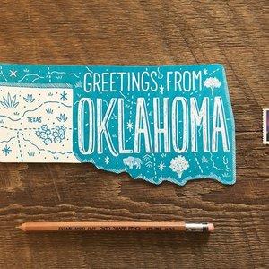 Noteworthy Postcard | Die Cut | Greetings from Oklahoma