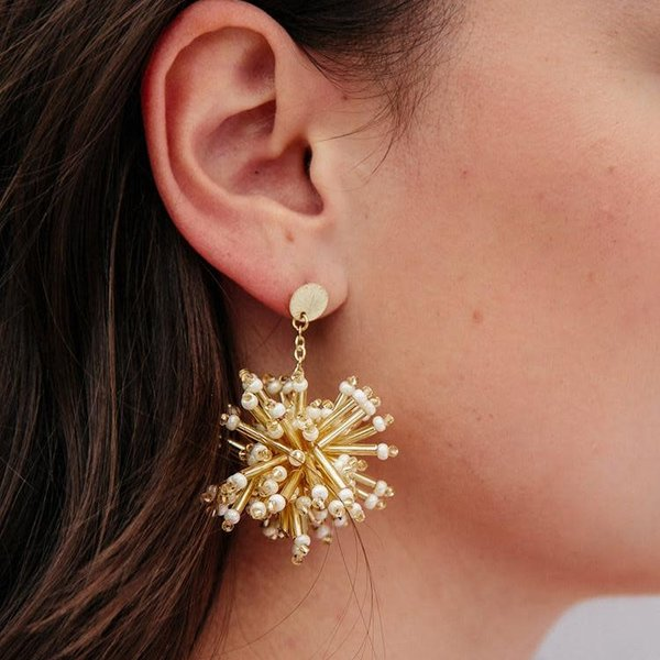 Mata Traders Earrings | Fireworks Stud | White