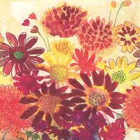 Boston International Napkins | Cocktail | Bunch of Fall Flowers