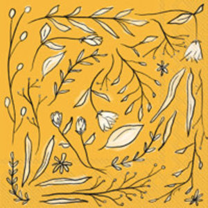 Boston International Napkins | Cocktail | Organic Floral Yellow