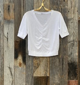 Stateside Stateside Linen Jersey V- Neck Rouched Top