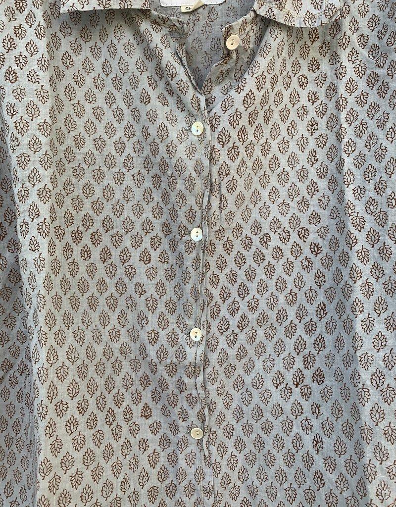 Auntie Oti Auntie Oti Button Shirt Blue Print
