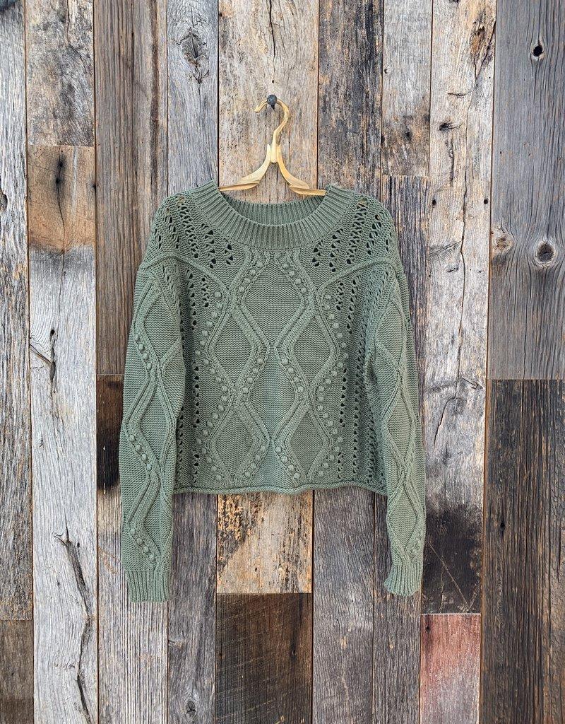 525 America 525 Mixed Stitch Bobble Pullover Sweater - Sage