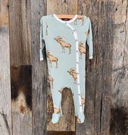 Milkbarn Milkbarn Footed Romper Blue Moose