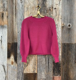 525 America 525 America Balloon Sleeve Cropped Sweater - Berry